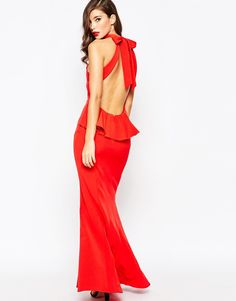 Jarlo High Neck Maxi Dress With Open Back and Frill Detail