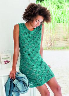 Vestido verde puntada de cuadros calados 1