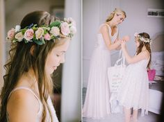 Flower girl wearing a white dress and floral crown   Photography by http://www.chrisbarberphotography.co.uk/