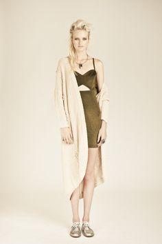 Nookie Heavy Metal Dress- Gold & Joy Spectrum Knit Cardigan- Natural