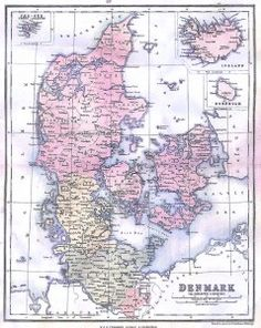 Map of Denmark iceland Bornholm and Schleswig Holstein -1867