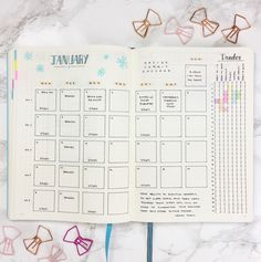 Bullet Journal Monthly Layout with Tracker Template