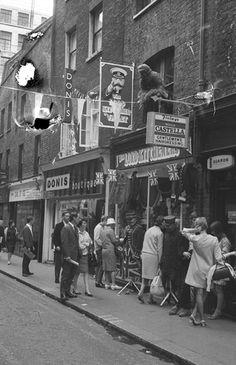 Outside Lord Kitchener' Valet, Carnaby Street July, 1967 Vintage London, Old London, Vintage Shops, Carnaby Street, London Street, London Life, London History, British History, Old Pictures
