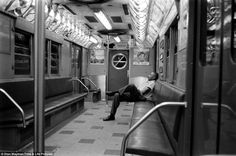"""My novel """"Subway Hitchhikers"""" runs through a world like this. Likely a late-night scene on the New York subway, Stan Wayman, Time & Life Pictures/Getty Images. New York Subway, Nyc Subway, Black White Photos, Black And White, Black Man, Rare Images, Vintage New York, Life Pictures, Back In The Day"""