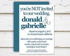 Funny beach wedding invitation wording bridal wedding kennedy printable elopement reception by melliebellieboutique filmwisefo