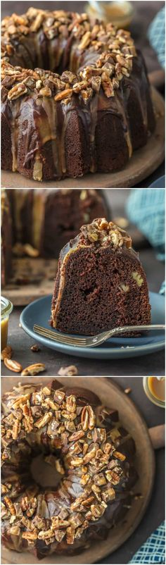 This TURTLE BROWNIE CAKE is a chocolate lovers dream. Dense and moist chocolate cake with walnuts and topped with the most incredible ganache and caramel drizzle. Crave worthy baking! via @beckygallhardin