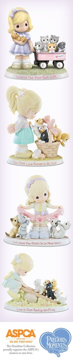 Not only is this Precious Moments Love is the Purr-ecious Moments Together Figurine purr-fectly irresistible, but it also supports the ASPCA! Precious Moments Wedding, Biscuit, Precious Moments Figurines, Light Of My Life, Cute Images, Cold Porcelain, Beautiful Family, I Love Cats, Cat Lovers