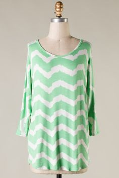 Spring has (almost) Sprung! Be Ready!  Mint and White Long sleeve piko style printed top  95% Rayon 5% Spandex Made in USA
