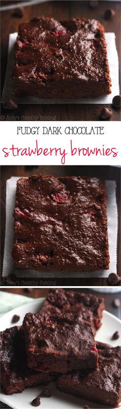 Clean-Eating Fudgy Dark Chocolate Strawberry Brownies -- these skinny brownies don't taste healthy at all! They're SO rich & just 80 calories!