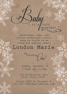Rustic Winter Wonderland Birthday, $12.50 Digital File to print as much as you want