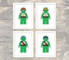 Set of 4 Teenage Mutant Ninja Turtle Prints - Lego Minifigs - Child or Adult -Wall Art - Printable Poster - Instant Download