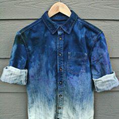 bleach washed denim shirt.  www.creativeboysclub.com