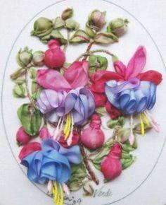 Craft Class Central London Ribbon Embroidery: Flowers in an English Garden on Sat 29 Nov 2014 at – Silk Ribbon Embroidery, Crewel Embroidery, Cross Stitch Embroidery, Embroidery Patterns, Ribbon Art, Ribbon Crafts, L'art Du Ruban, Band Kunst, Fabric Art