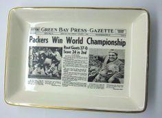 1961 GREEN BAY PACKERS WIN WORLD CHAMPIONSHIP ARTICLE ON DISH TRAY LOMBARDI **