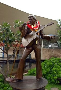 """The plaque read: : Elvis Aloha From Hawaii. The World's first satellite TV concert. Jan 14th, 1973. """"With supreme talent and sincere humility, Elvis Presley made his gift the world's. Thank you, thank you very much""""."""