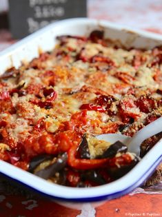 Eggplant, tomato and pepper gratin with Parmesan - Aubergine, tomato and pepper gratin with Parmesan - Veggie Recipes, Snack Recipes, Stuffing Recipes, Batch Cooking, Special Recipes, Easy Dinner Recipes, Food Inspiration, Foodies, Food And Drink