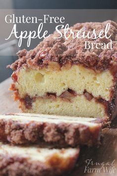 This gluten-free apple streusel bread is perfect with a cup of coffee! Gluten Free Sweets, Gluten Free Cooking, Gluten Free Recipes, Gf Recipes, Apple Recipes, Baking Recipes, Dessert Recipes, Bread Recipes, Spinach Recipes