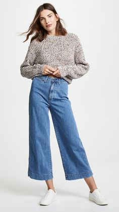Wide Jeans, Cropped Wide Leg Jeans, Crop Jeans, Jeans Outfit Winter, Denim Outfit, Spring Outfits Japan, Summer Outfits, Jean Outfits, Woman