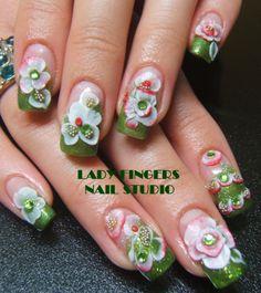 #nails #nailart #naildesign #gelnails #nailideas #trendynails #art #manicure #gelpolish #gelmanicure #3d #3dflowers #flowers #bling #glitter #holidays #acrylic #rhinestones