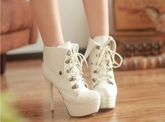 High-heeled boots but I want them in black or brown