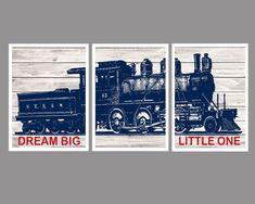 Dream Big Little One Train Wall Decor Boys Bedroom by FKArtDesign