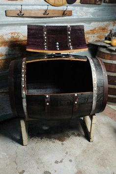 Wine barrel and whiskey barrel furniture decor, accessories, pet beds, kitchen, lighting Timber Furniture, Repurposed Furniture, Unique Furniture, Barrel Projects, Wood Projects, Whiskey Barrel Furniture, Ice Chest Cooler, Outdoor Bars, Whiskey Barrels