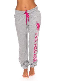 82df3079a9be U.S. Polo Assn. Womens Printed French Terry Boyfriend Jogger Sweatpants  Grey M