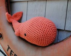 Woolie Whale Hand Crocheted Plush Large - Provincetown Peach