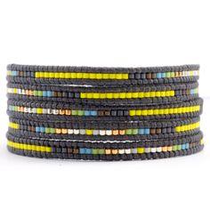 Chan Luu - Yellow Mix Wrap Bracelet on Natural Grey Leather, $190.00 (http://www.chanluu.com/mens-wrap-bracelets/yellow-mix-wrap-bracelet-on-natural-grey-leather/)