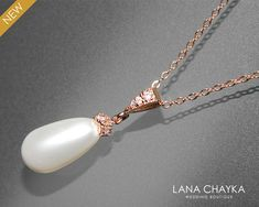 White Pearl Rose Gold Bridal Necklace Swarovski Pearl Teardrop Necklace Wedding Rose Gold Pearl Necklace Bridal Pearl Jewelry Bridesmaids Gold Pearl Necklace, Bridal Necklace, Pearl Pendant, Pearl Jewelry, Teardrop Necklace, Bridal Jewelry, Wedding Necklaces, Pearl Bridesmaid Jewelry, Rose Gold Wedding Jewelry