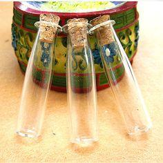 5PCS 35x10mm Long milk bottle shape glass bottle clear letter bottle charms (6-10-28)