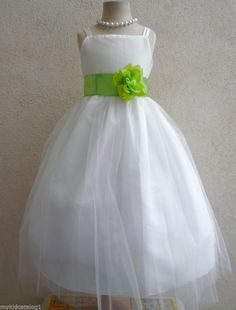 IVORY / LIME GREEN BRIDESMAID WEDDING RECITAL PAGEANT PARTY FLOWER GIRL DRESS