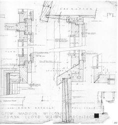 Pew-Plano Det3 | Huellas de arquitectura Casas De Frank Lloyd Wright, Frank Lloyd Wright Buildings, Frank Lloyd Wright Homes, Architecture Details, Modern Architecture, San Francisco Quotes, Usonian House, Metal Beam, Section Drawing