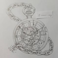 Pocket Watch Drawing, Pocket Watch Tattoos, Pocket Watch Tattoo Design, Pirate Skull Tattoos, Skull Girl Tattoo, Clock Tattoo Design, Tattoo Designs, Tattoo Sketches, Tattoo Drawings
