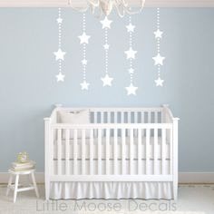 Children Wall Decal - Hanging Stars White Nursery Decal. $34.00, via Etsy.