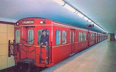"TTC Gloucester train at King Station. Note the operator (not motorman) is on the right side now referred to as ""off cab"". TTC retired the Red Rockets in the Toronto Ontario Canada, Toronto City, Toronto Subway, Canadian History, Canadian Memes, Train Info, Underground Tube, Rapid Transit, U Bahn"