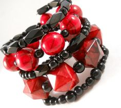 Red and Black Chunky Bracelet Stack Tween Teen Jewelry Layered Bracelet Gift Ideas for Tween and Teen Girls Trendy Beaded Wrap Bracelet