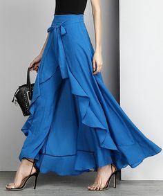 Take a look at this Blue Chiffon High-Waist Ruffle Palazzo Pants today!