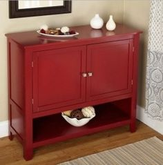 If you need the extra space for your dining area or kitchen to store some items, this sideboard will do just fine with the spacious compartment behind the two doors and an adjustable shelf with an open shelf under the cabinet - all in a beautiful, red finish.