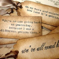 love the idea of the tags... (HP quotes?) or thank you tied on favors