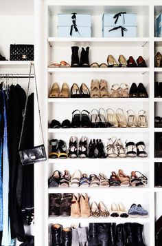 Tips on how to declutter your home with the KonMari method. Shoe organization in shelves. Closet Bedroom, Master Closet, Closet Space, Shoe Closet, Master Bedroom, Entryway Closet, Rustic Entryway, Master Bath, Style Victoria Beckham