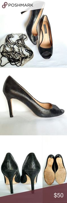 """Ann Taylor Pumps The Perfect Peeptoe Black Lizard Leather Pump. 3 1/4"""" heel. Worn a handful of times, some sign of wear (see last pic) barely noticeable. In overall great condition. Ann Taylor Shoes Heels"""