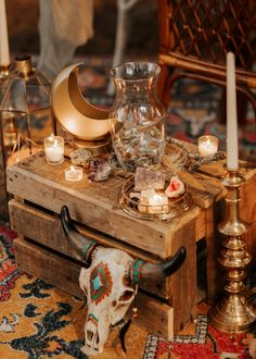 Geometric Lantern, Gold Tray, Gold Moon, Wooden Crate, Colorful Rug P. T and V Photography Tree Lighting, Twinkle Lights, Colorful Rugs, Crates, Lanterns, Wedding Venues, Tray, Moon, Table Decorations