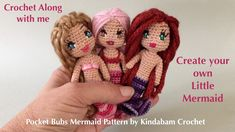 How to Crochet an Amigurumi Doll Mermaid. A No Sew One Piece Pattern. Beginner Friendly (Part Doll Patterns Free, Sewing Patterns, Crochet Patterns, Free Pattern, Knitted Dolls, Crochet Dolls, Baby Doll Eyes, Mermaid Dolls, Mermaid Mermaid