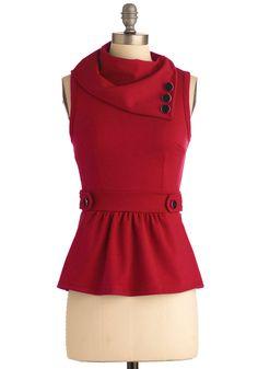 Coach Tour Top in Ruby   Mod Retro Vintage Short Sleeve Shirts   ModCloth.com