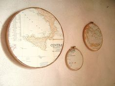 Map Decoration Ideas Frame vintage maps with cross-stitch holders, or display them in numerous other ways.Frame vintage maps with cross-stitch holders, or display them in numerous other ways. Embroidery Designs, Embroidery Transfers, Vintage Embroidery, Embroidery Hoops, Globe Decor, Map Globe, Framed Maps, Vintage Maps, Vintage Map Decor