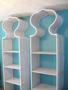 wicker bookshelves