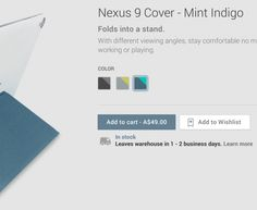 Nexus 9 Origami Covers now in-stock on Google Play – shipping in 1-2 Days.  Google has finally listed the Nexus 9 Cover for sale in Google Play, over a month after they began sales on the tablet. While the Folio Keyboard case remains unlisted and hence unavailable, if you want to protect your new Nexus 9, then here's the official cover for it. [READ MORE HERE]
