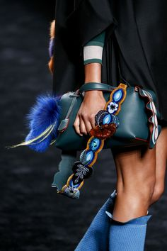 Fendi Fall 2016 Ready-to-Wear - Handbag w/ Embellished Strap, Embroidery, Fur