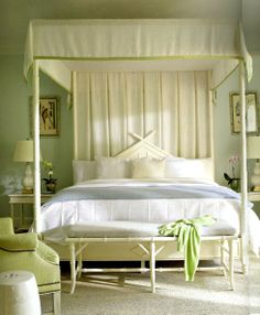 A lovely bedroom in the exclusive Lyford Bay Club, Bahamas - Designer Tom Scheerer